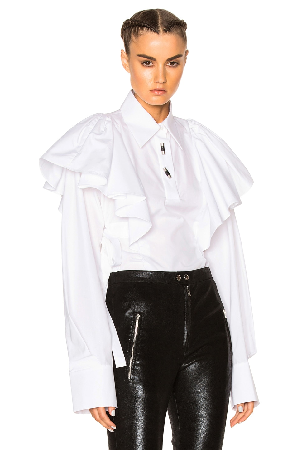 Image 1 of Kenzo Poplin Top in White
