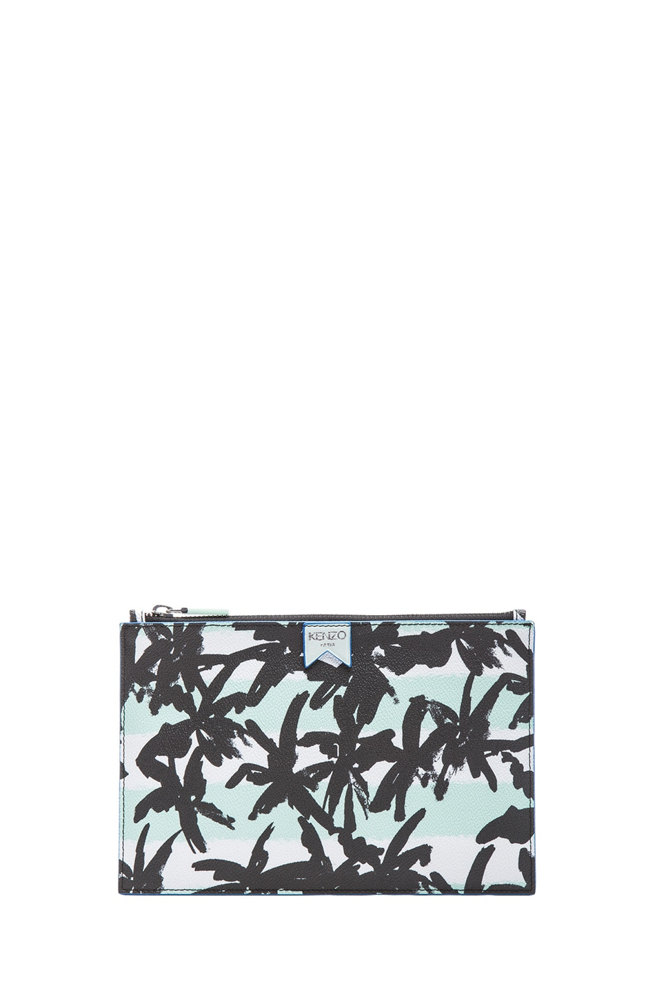 Image 1 of KENZO Raindrop Palms & Stripes Clutch in Light green