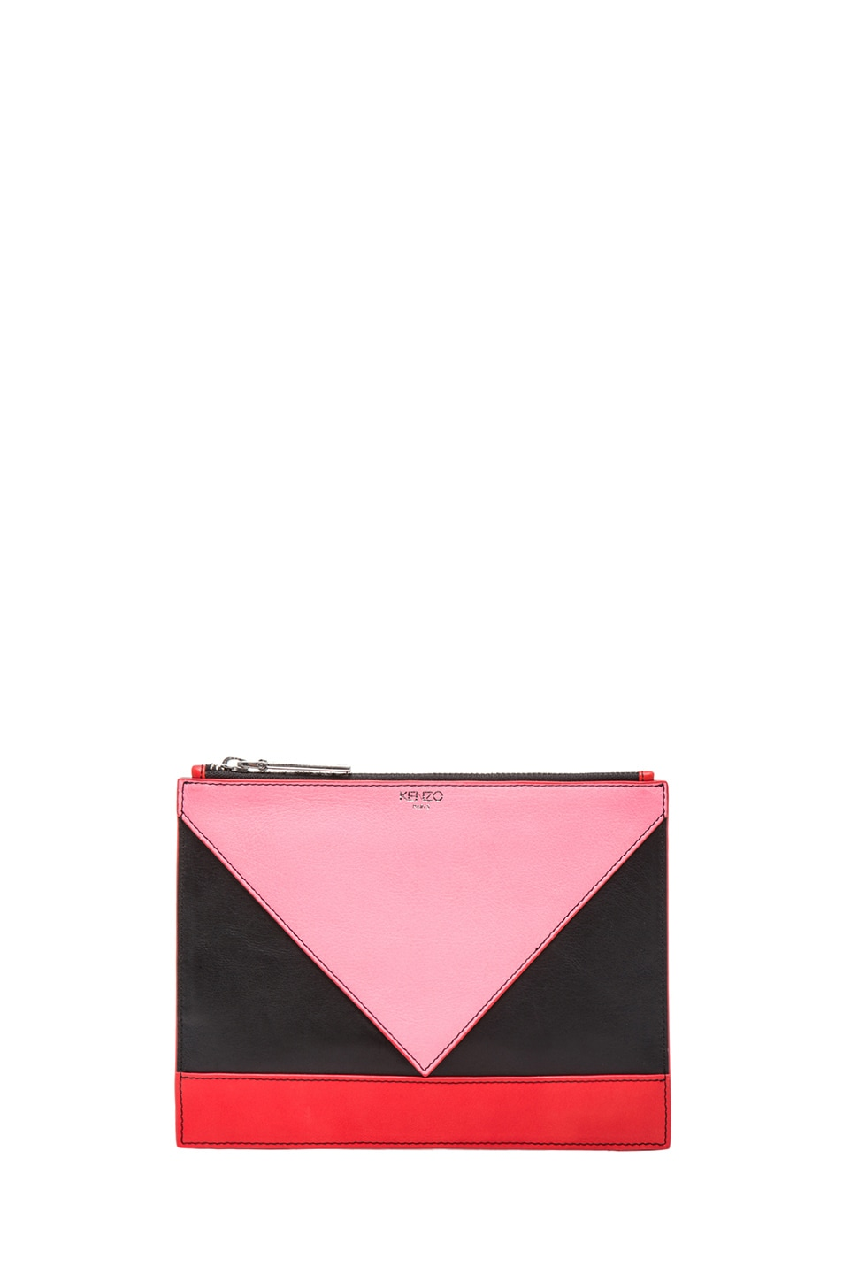 Image 1 of KENZO Colorblock Small Kalifornia Clutch in Fluorescent Pink, Black & Orange