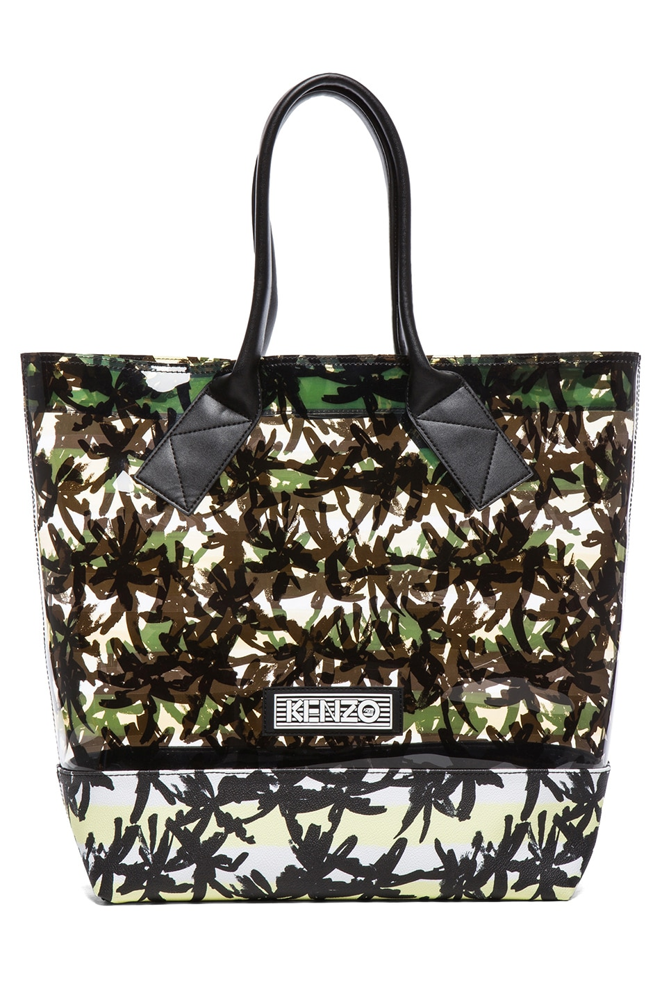 Image 1 of KENZO Palms & Stripes Tote in Citrus Yellow