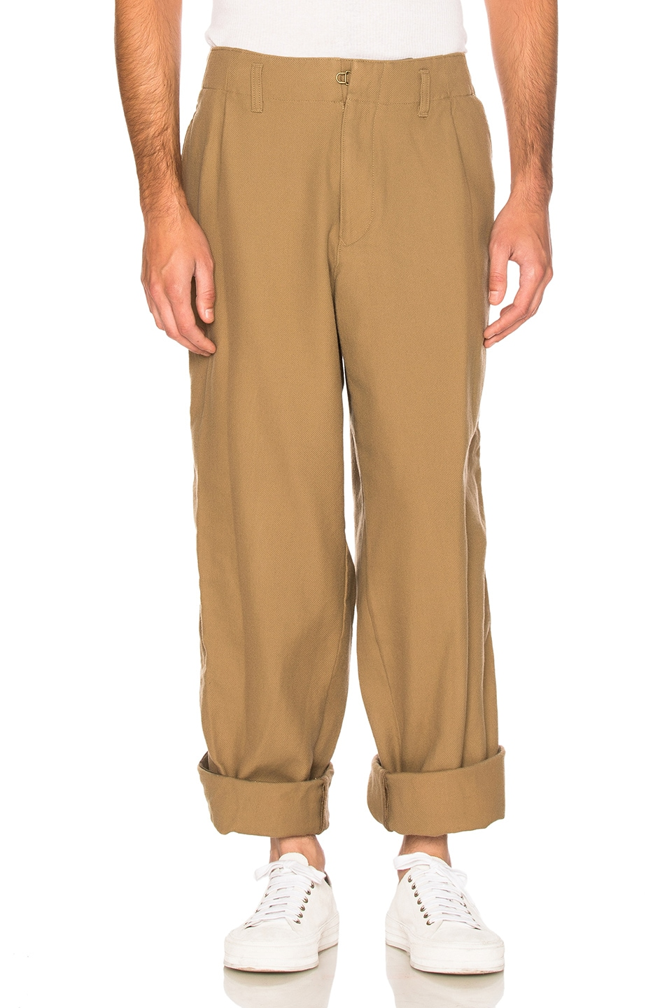 Image 1 of kolor BEACON Cotton Wool Trousers in Khaki Beige