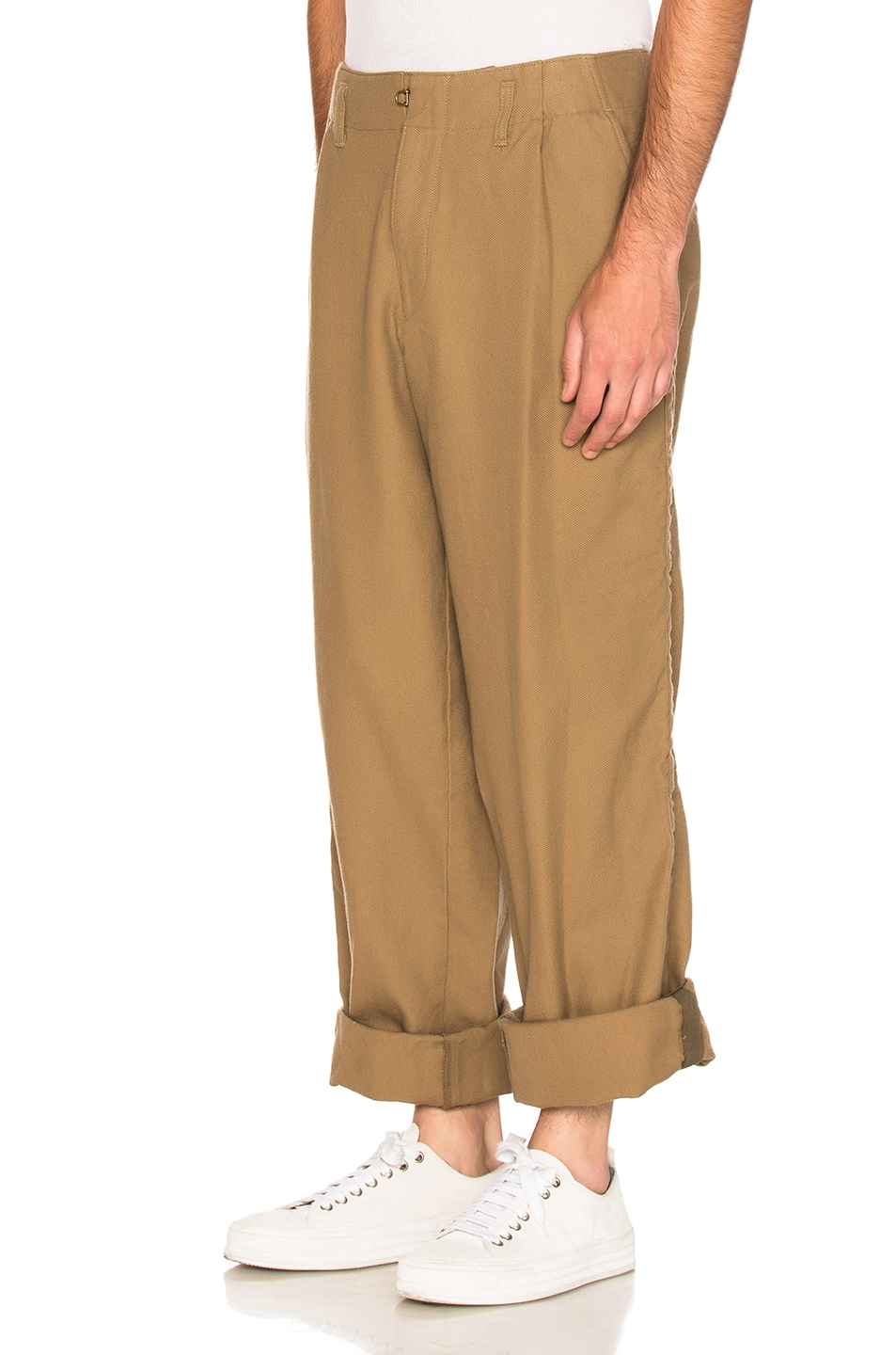 Image 2 of kolor BEACON Cotton Wool Trousers in Khaki Beige