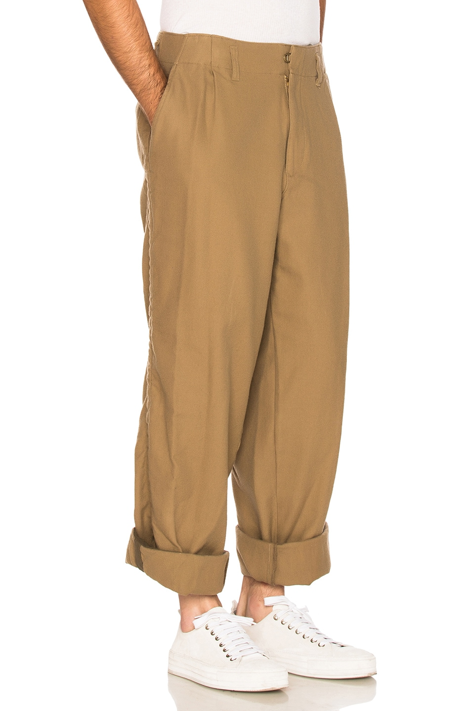 Image 3 of kolor BEACON Cotton Wool Trousers in Khaki Beige