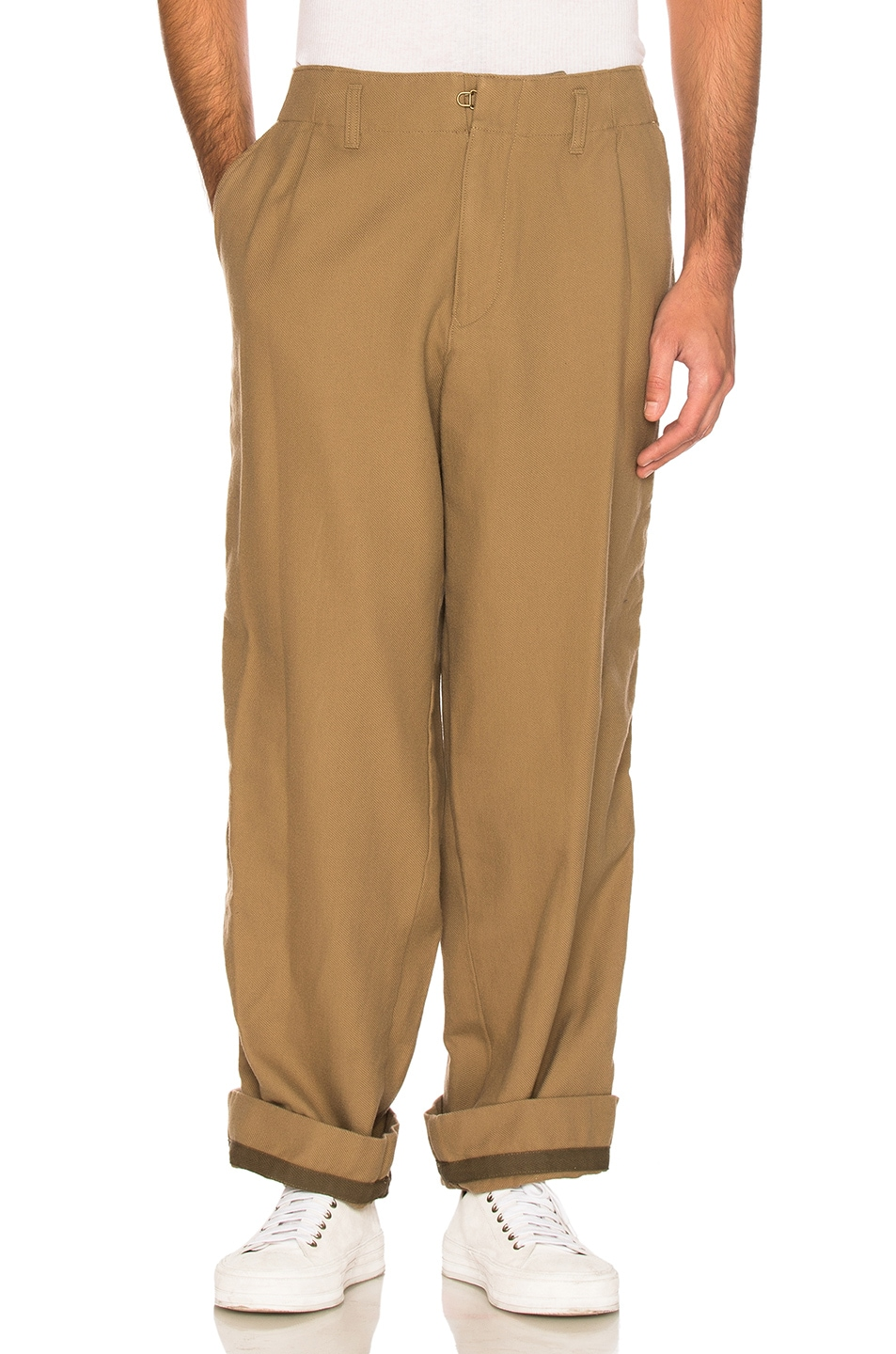 Image 4 of kolor BEACON Cotton Wool Trousers in Khaki Beige