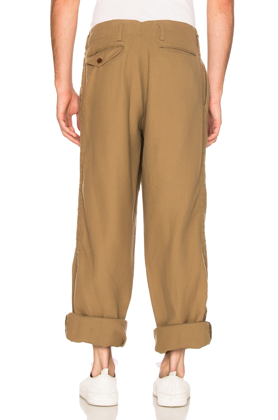 Image 5 of kolor BEACON Cotton Wool Trousers in Khaki Beige
