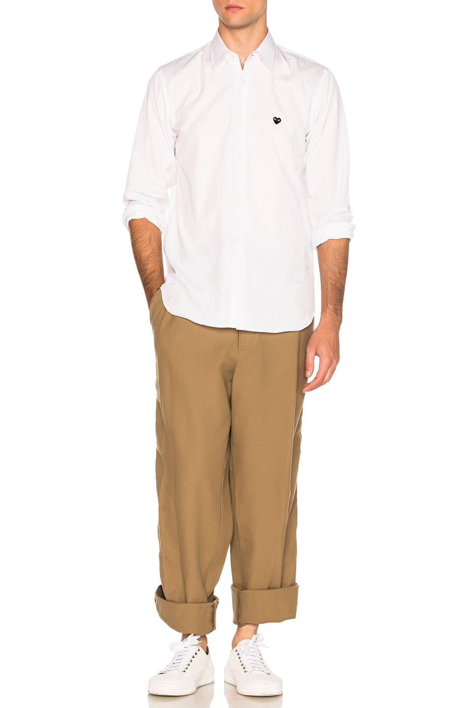 Image 6 of kolor BEACON Cotton Wool Trousers in Khaki Beige