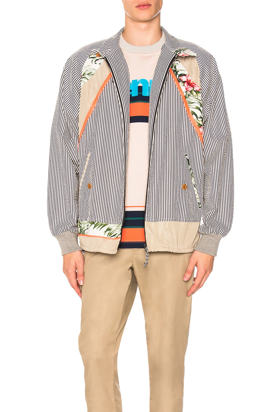 Kolor  KOLOR FULL ZIP JACKET IN BLUE,FLORAL,STRIPES,WHITE