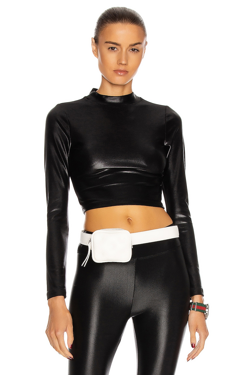 Image 1 of KORAL Luca Infinity Long Sleeve Crop Top in Black