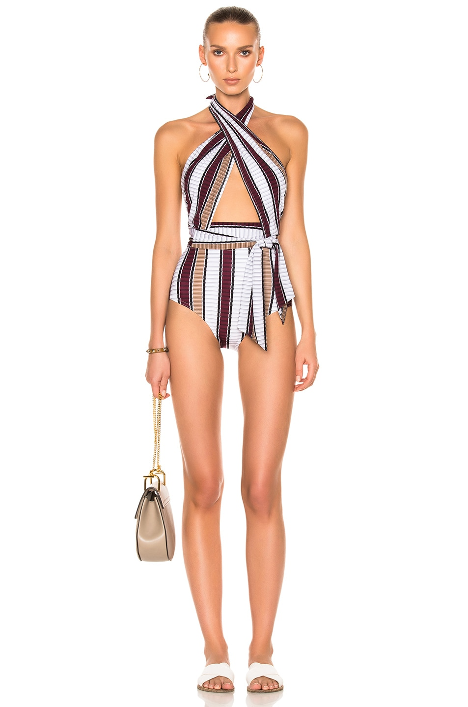 Image 1 of Karla Colletto Palazzo Swimsuit in Wine & Latte