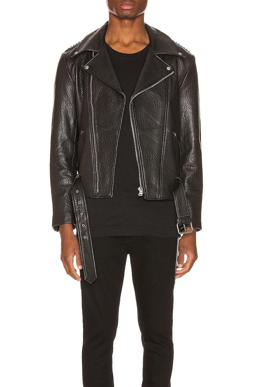 Image 1 of Keiser Clark Pebbled Leather Biker Jacket in Black