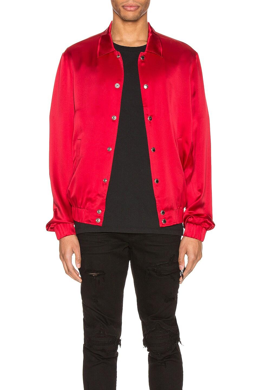 Image 1 of Keiser Clark Silk Bomber Jacket in Blood Red