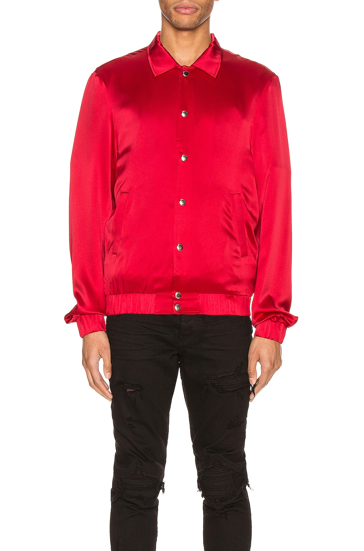 Image 2 of Keiser Clark Silk Bomber Jacket in Blood Red