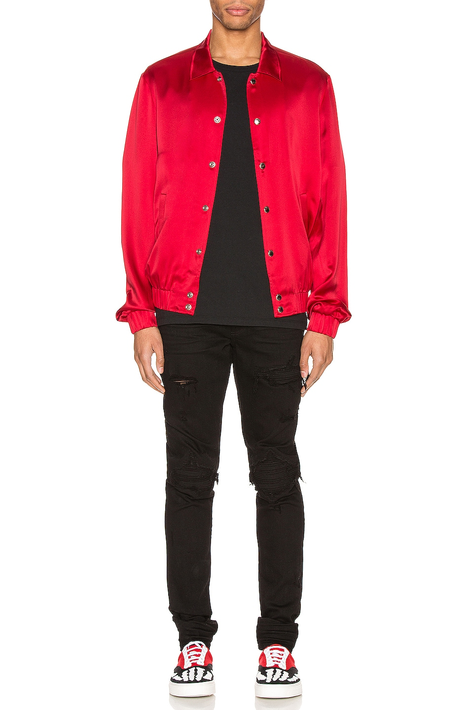 Image 5 of Keiser Clark Silk Bomber Jacket in Blood Red