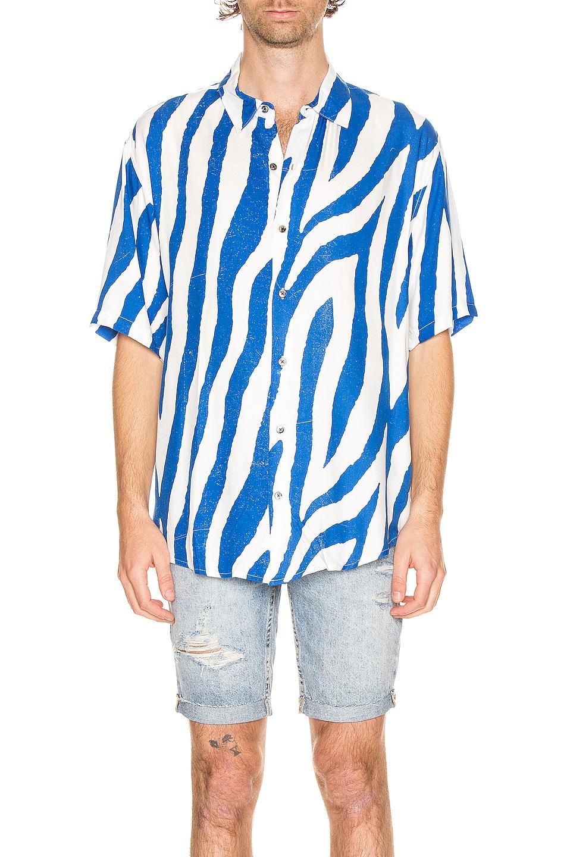 Image 1 of Ksubi Animal Short Sleeve Shirt in Blue