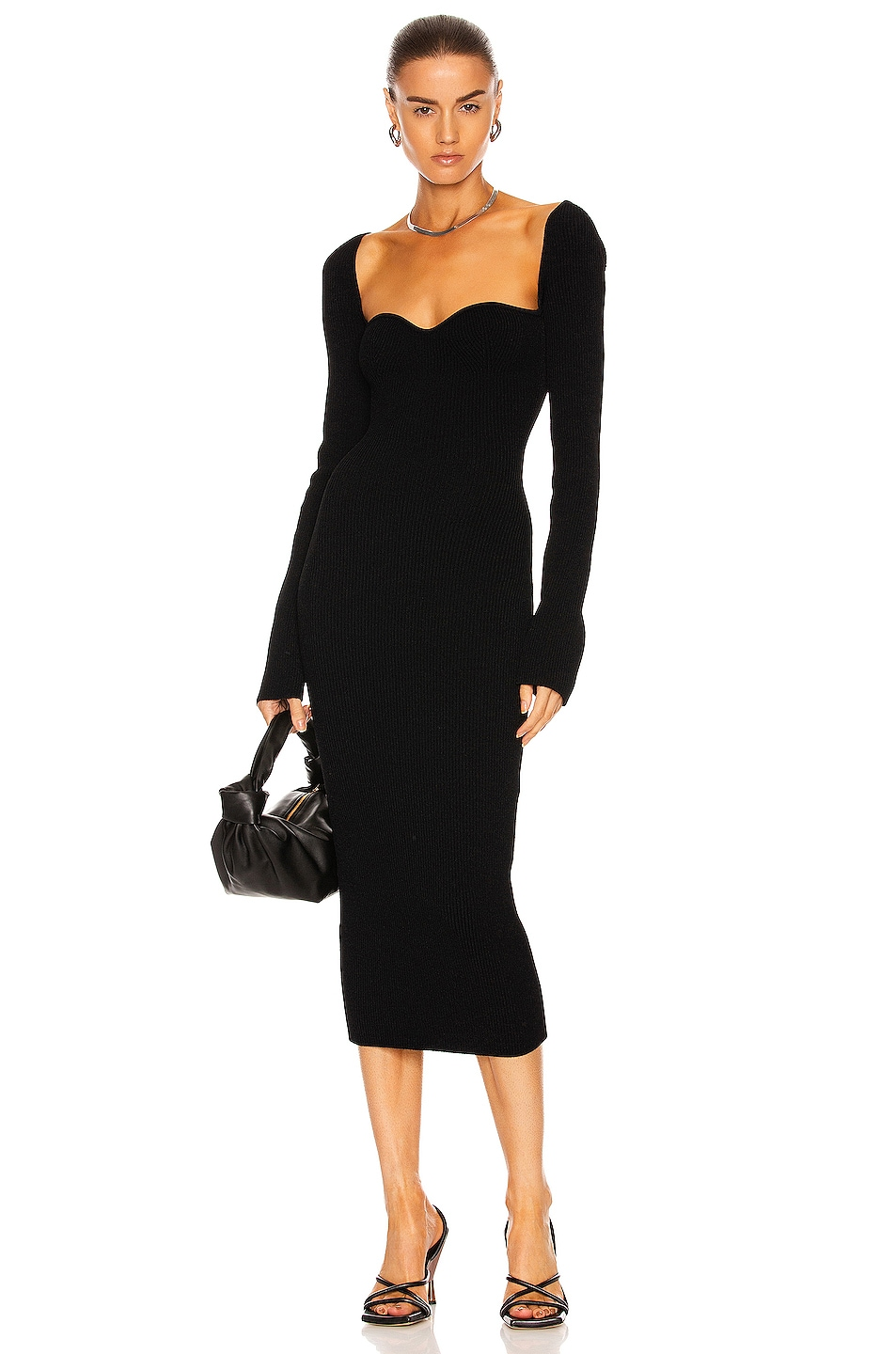 Image 1 of KHAITE Beth Long Sleeve Bustier Dress in Black