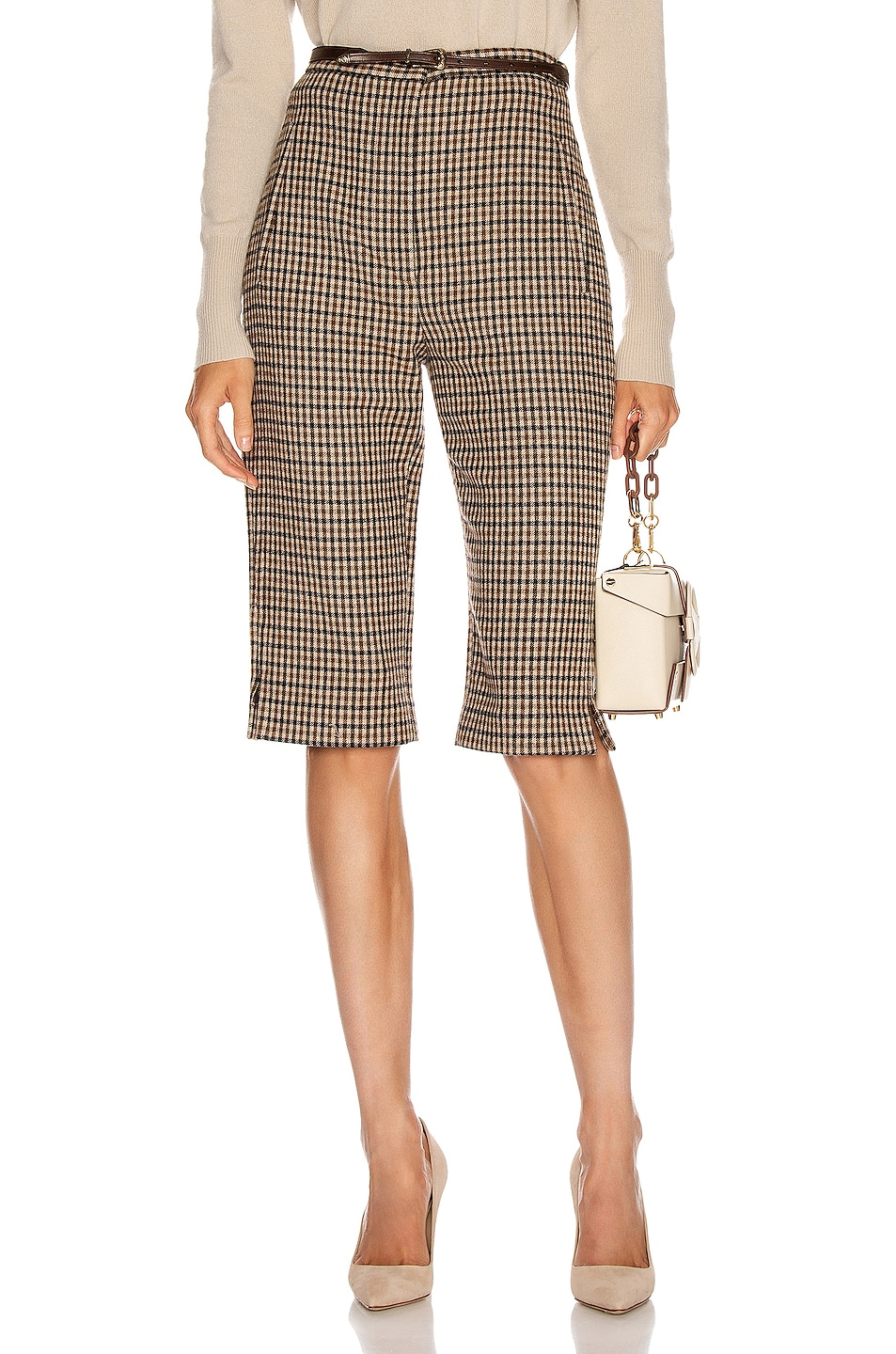 Image 1 of KHAITE Ruby Short in Brown Check