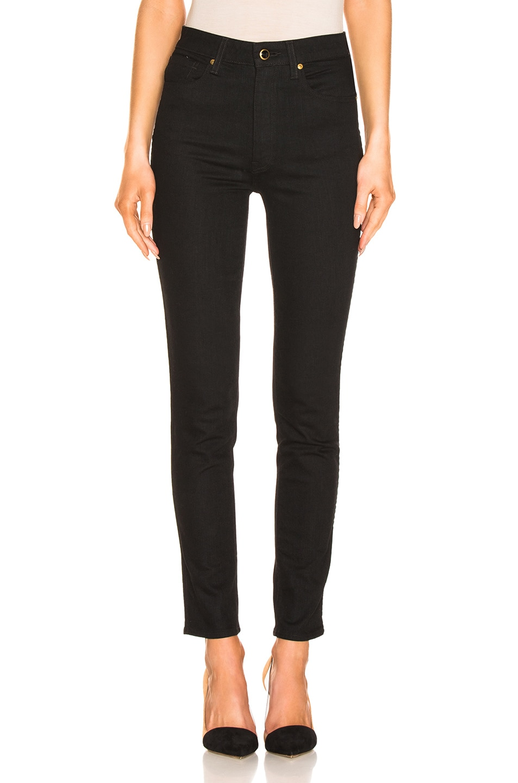 Image 1 of KHAITE Vanessa High Rise Straight Jean in Black