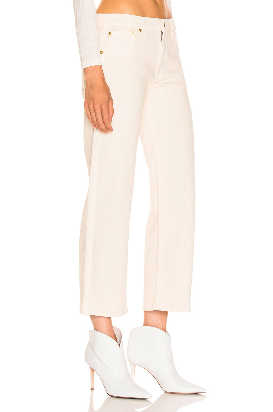 Image 2 of KHAITE Wendell Cropped Wide Leg Jean in Ivory