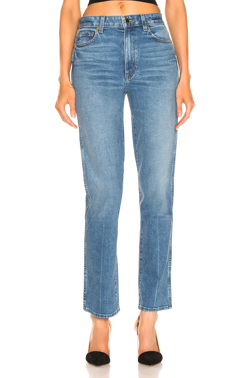 Image 1 of KHAITE Victoria Straight Leg Jean in Blue