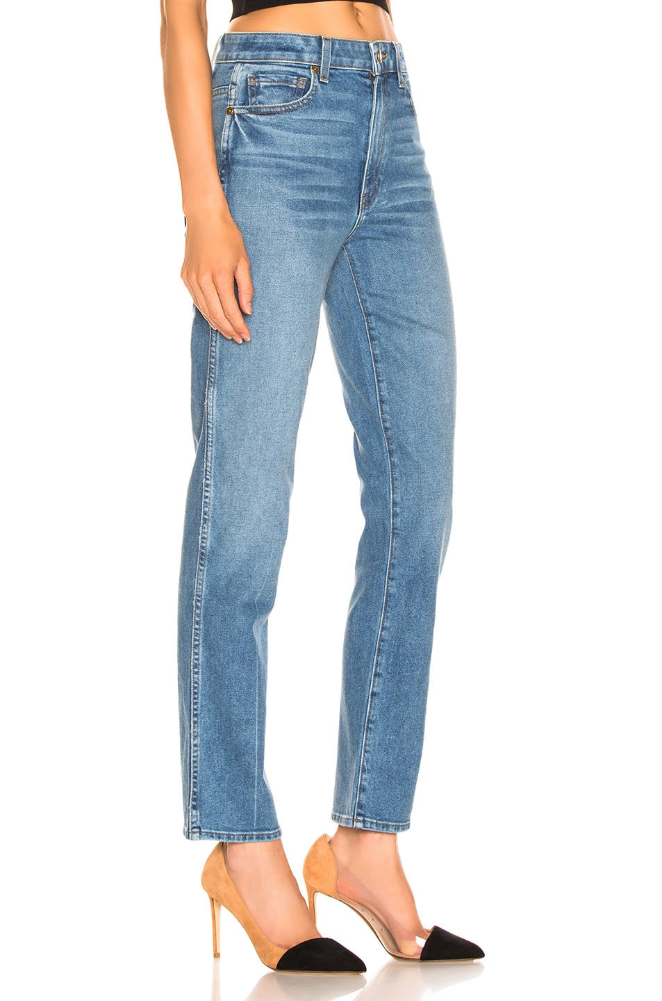 Image 2 of KHAITE Victoria Straight Leg Jean in Blue