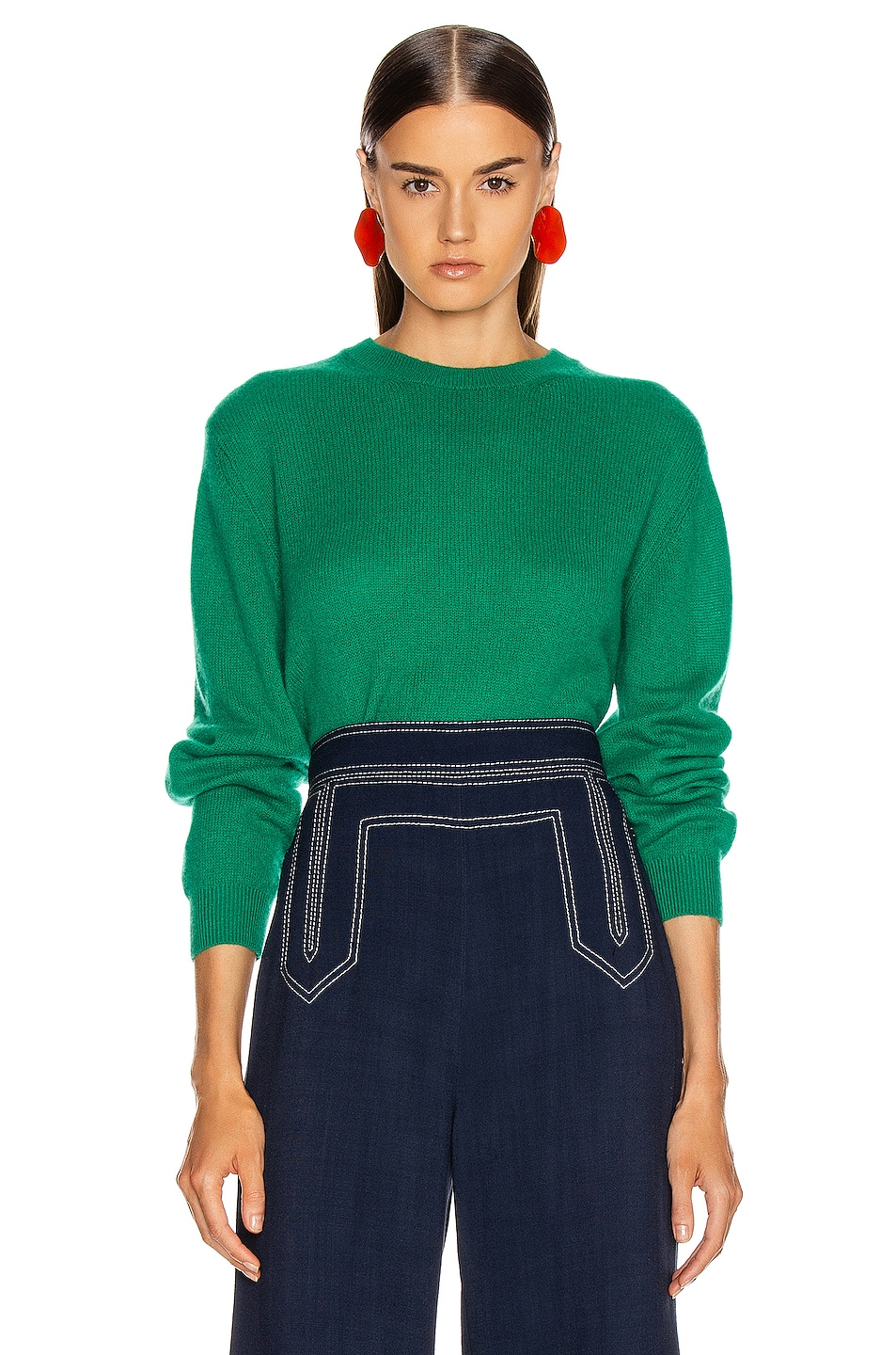 Image 1 of KHAITE Viola Sweater in Kelly Green