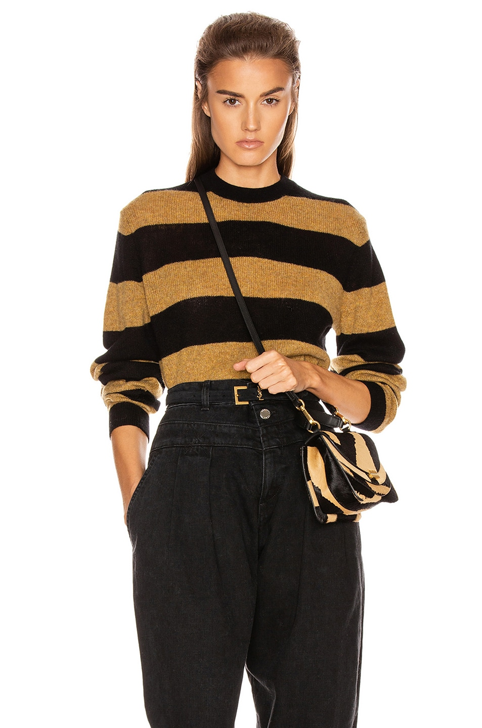 Image 1 of KHAITE Viola Crewneck Pullover Sweater in Black & Fawn Stripe