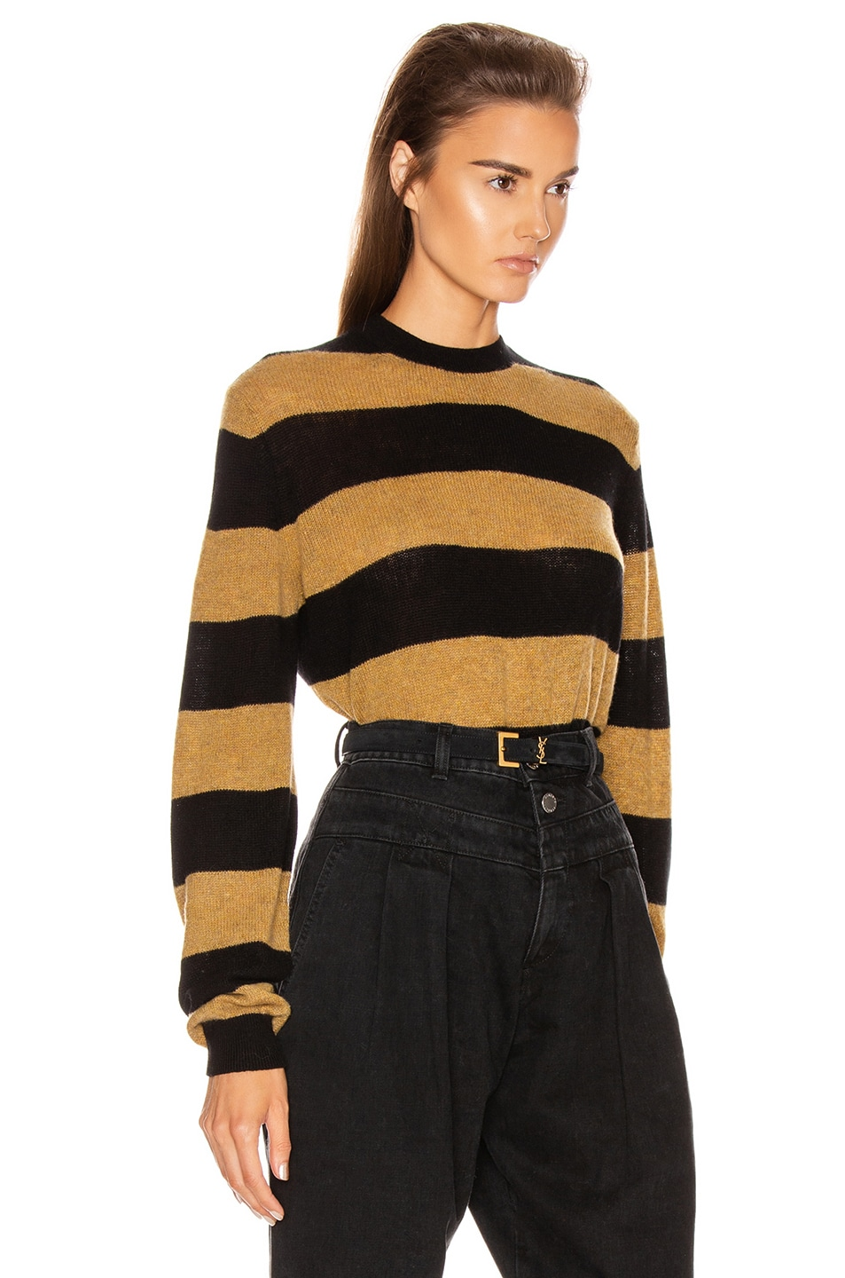Image 2 of KHAITE Viola Crewneck Pullover Sweater in Black & Fawn Stripe