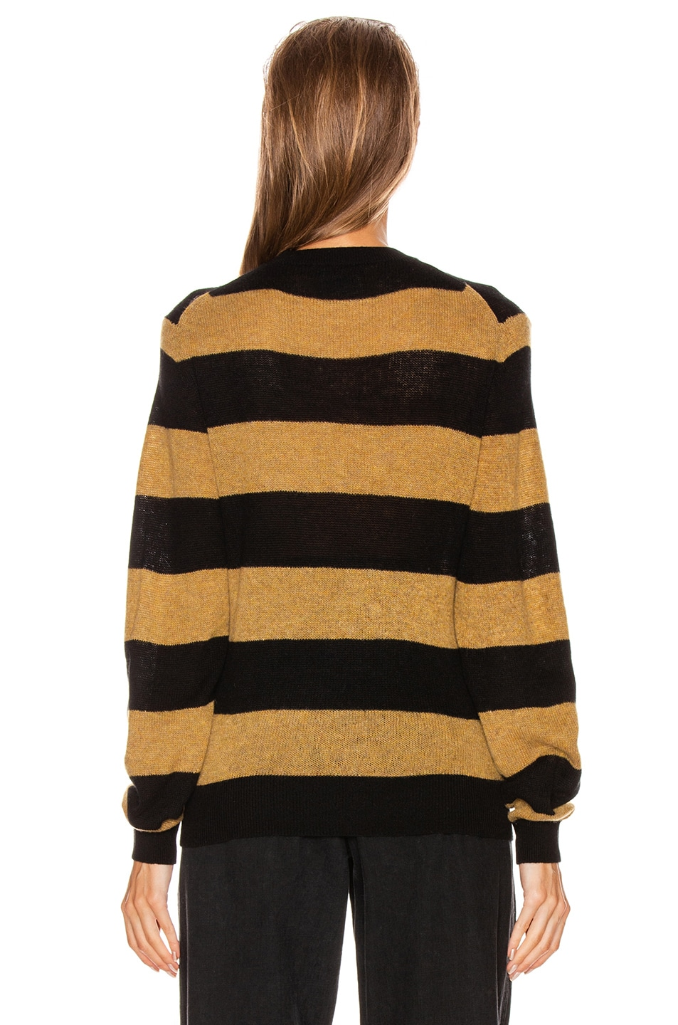 Image 3 of KHAITE Viola Crewneck Pullover Sweater in Black & Fawn Stripe