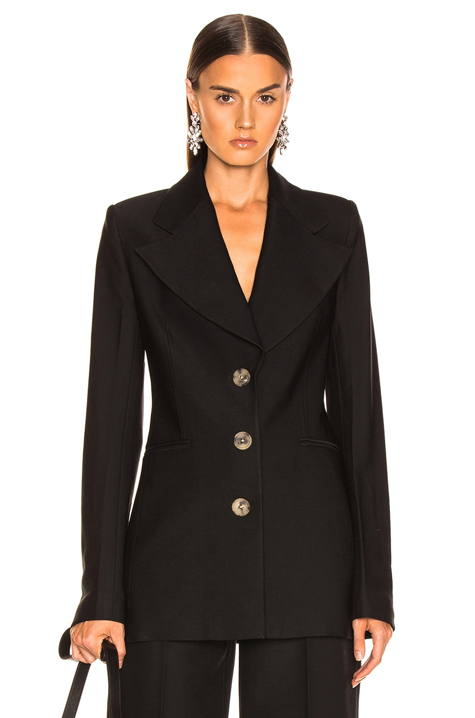 Image 1 of KHAITE Mckenna Long Blazer in Black