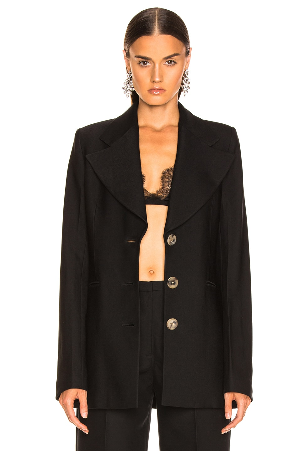 Image 2 of KHAITE Mckenna Long Blazer in Black