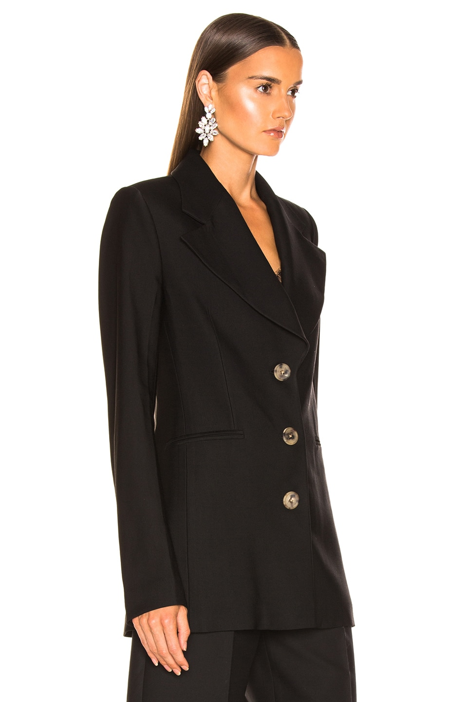 Image 3 of KHAITE Mckenna Long Blazer in Black