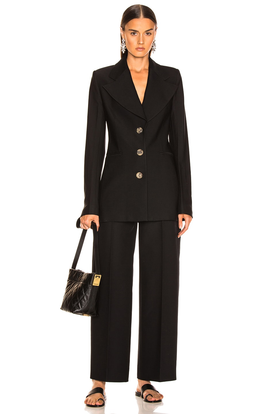 Image 5 of KHAITE Mckenna Long Blazer in Black
