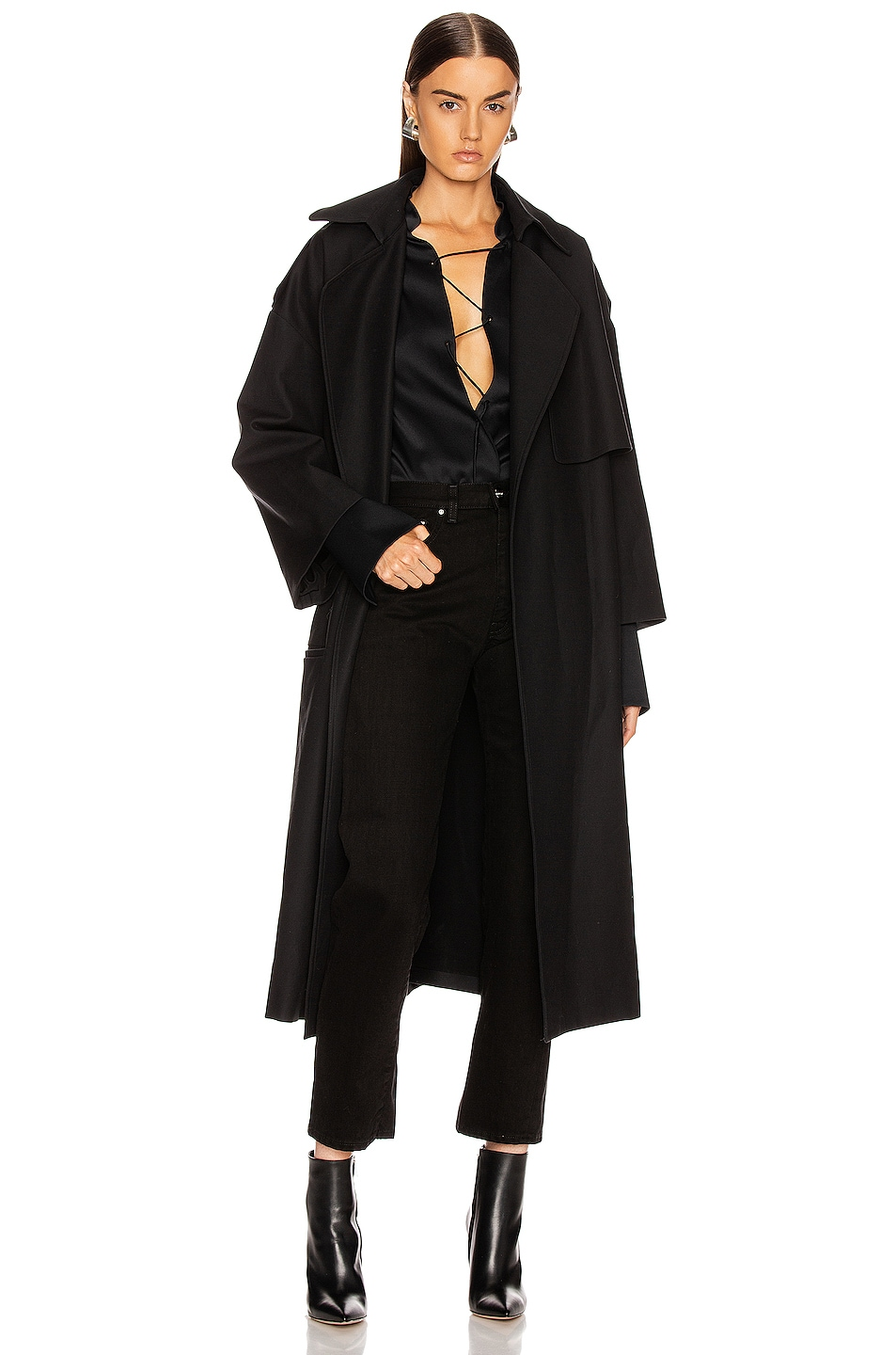 Image 1 of KHAITE Matthias Trench Jacket in Black