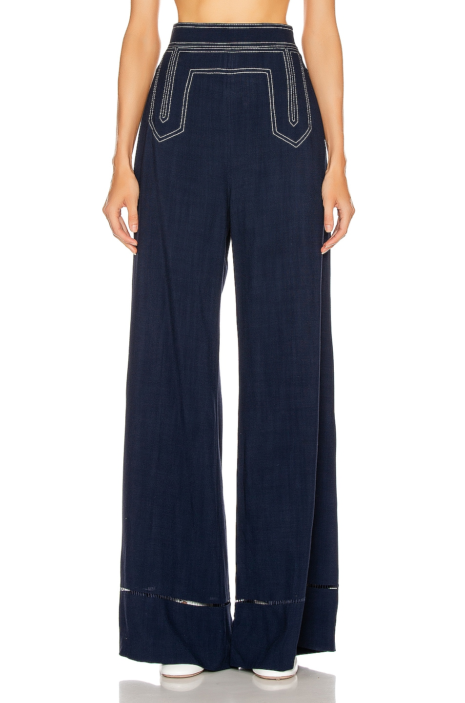 Image 1 of KHAITE Vera Sailor Pant in Navy