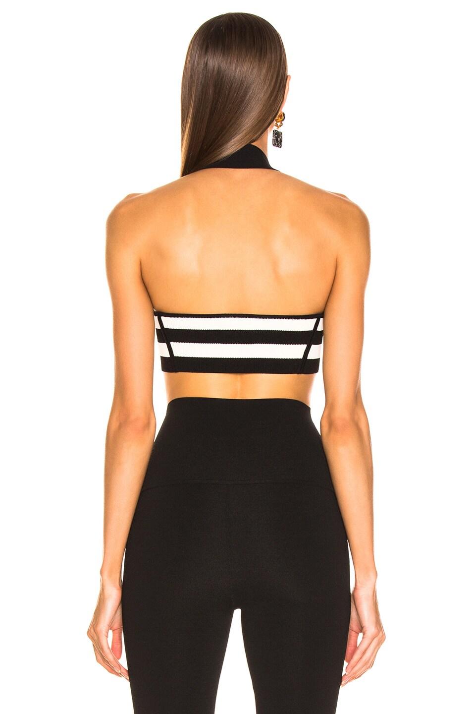 Image 3 of KHAITE Janet Bralette Top in Black & Cream Stripe