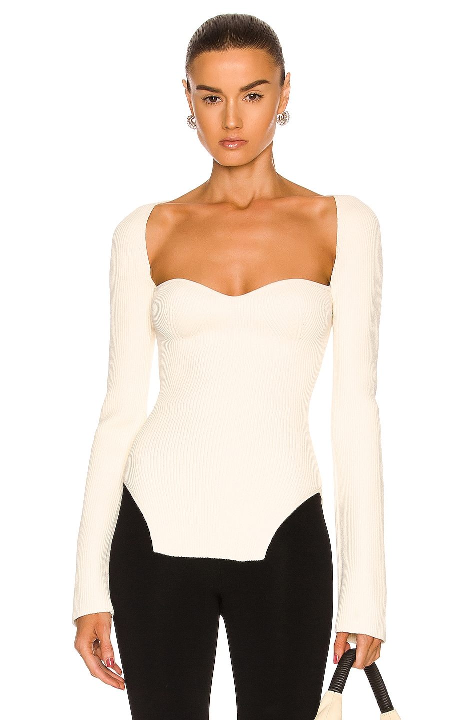 Image 1 of KHAITE Maddy Long Bustier Top in Cream