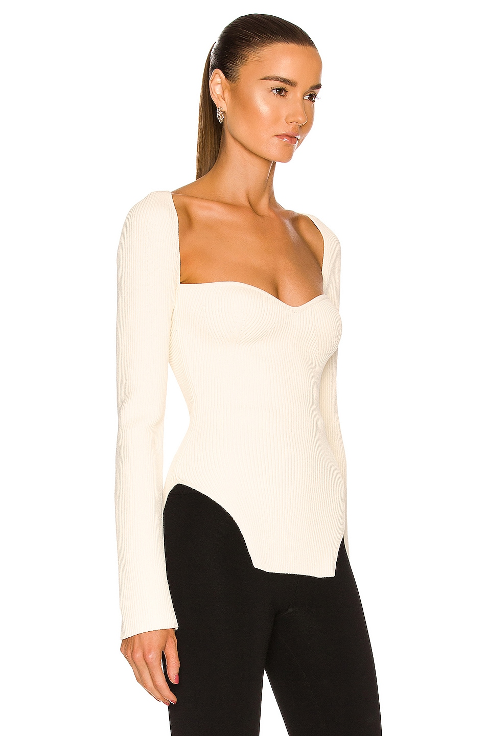 Image 2 of KHAITE Maddy Long Bustier Top in Cream