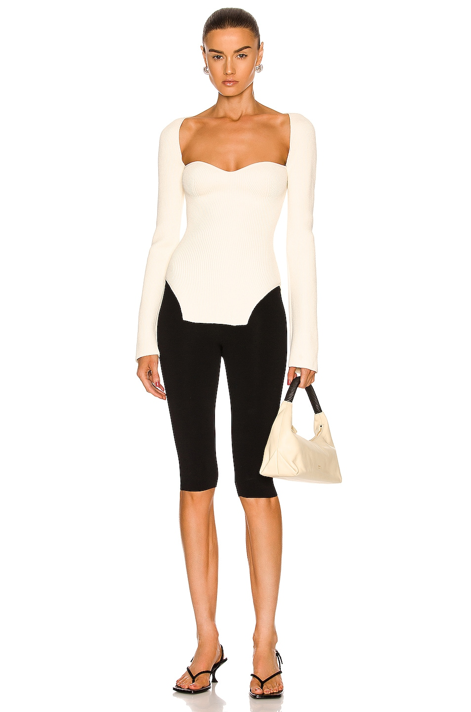 Image 4 of KHAITE Maddy Long Bustier Top in Cream