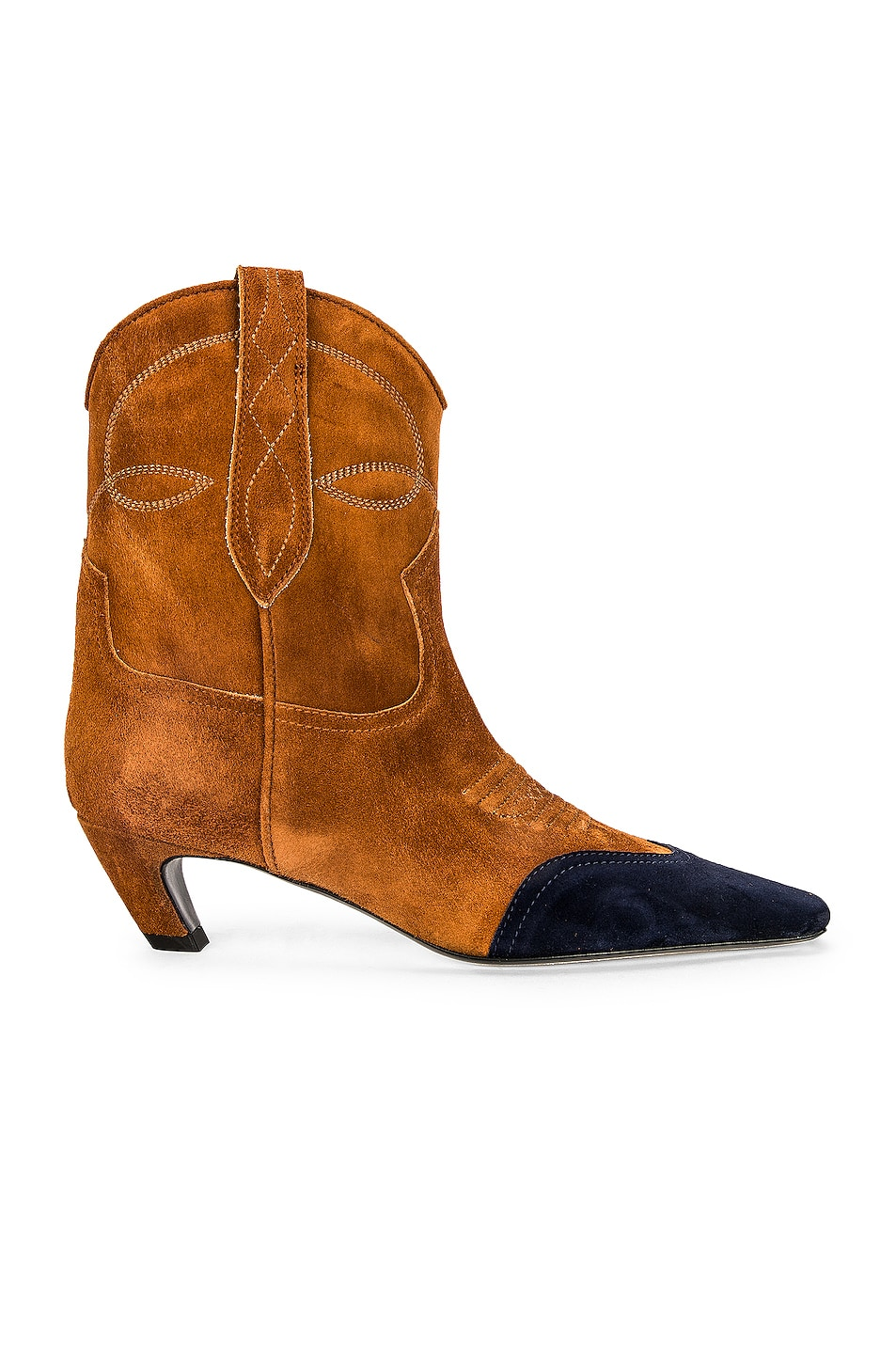 Image 1 of KHAITE Dallas Ankle Boots in Caramel & Midnight