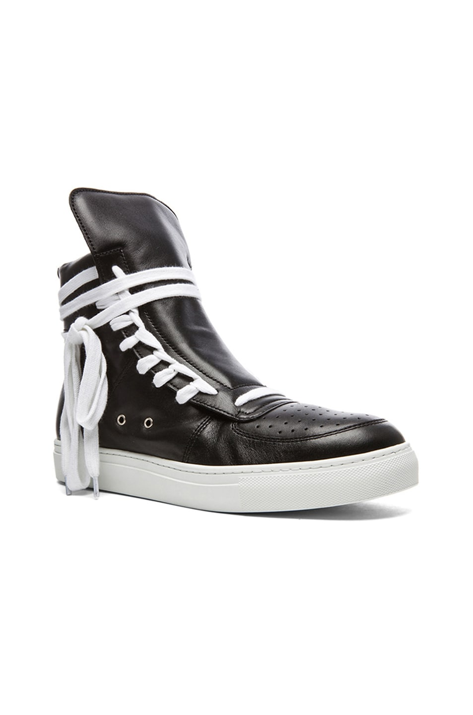feaf03f38f Image 1 of Kris Van Assche Calfskin Leather High Top Sneakers in Black    White