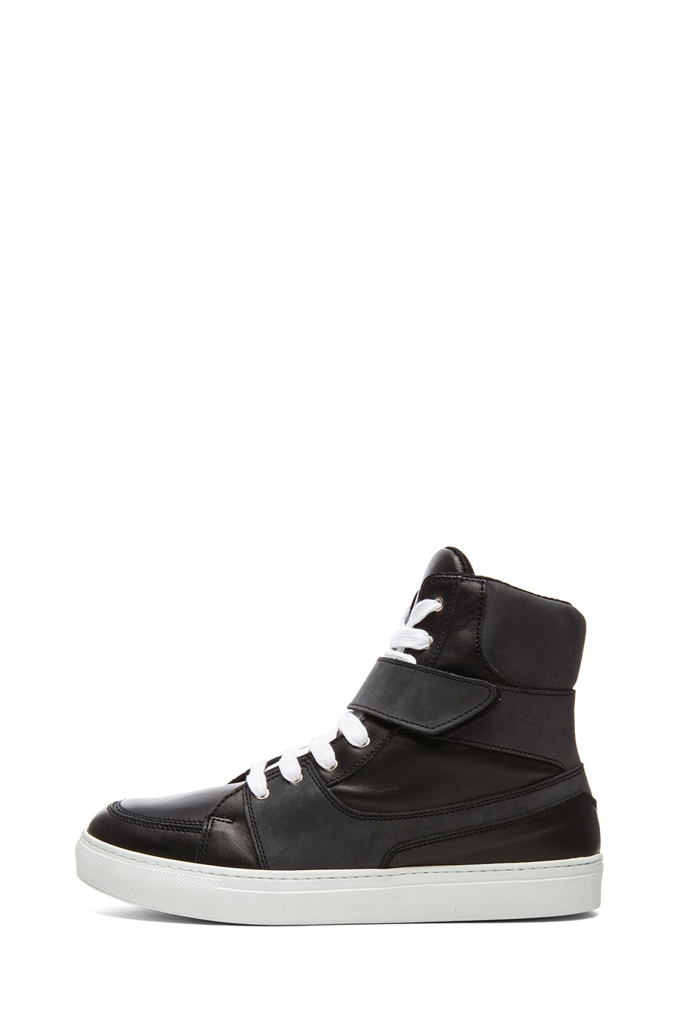 5e34447c5f Image 1 of Kris Van Assche Calfskin Leather High Top Sneaker in Black