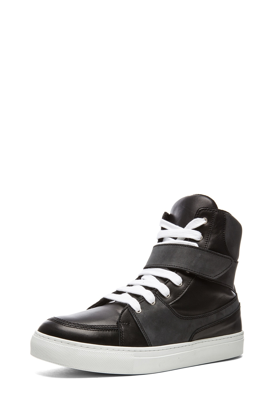219c19d347 Image 2 of Kris Van Assche Calfskin Leather High Top Sneaker in Black
