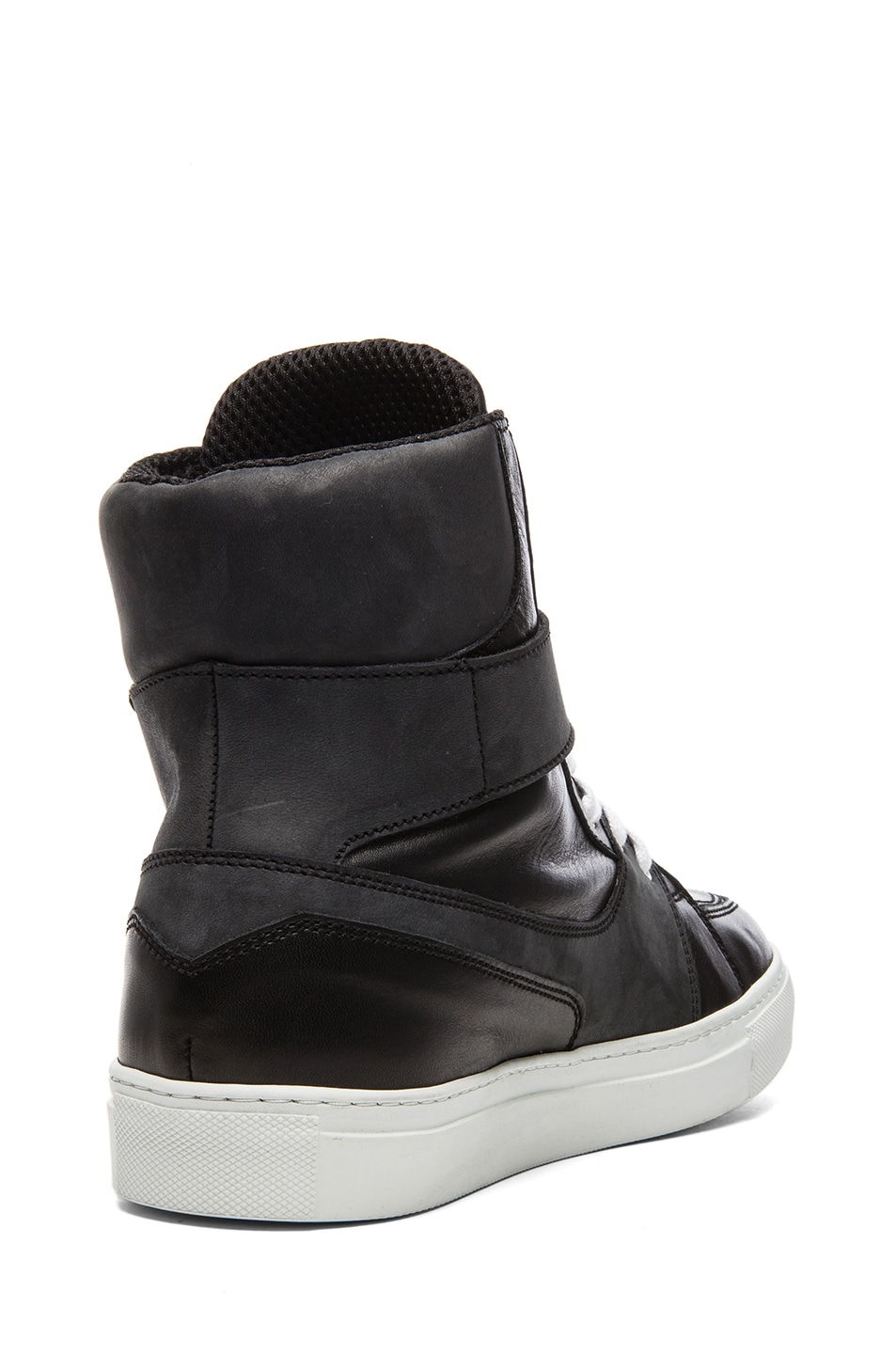 6435b4b3a1 Image 3 of Kris Van Assche Calfskin Leather High Top Sneaker in Black