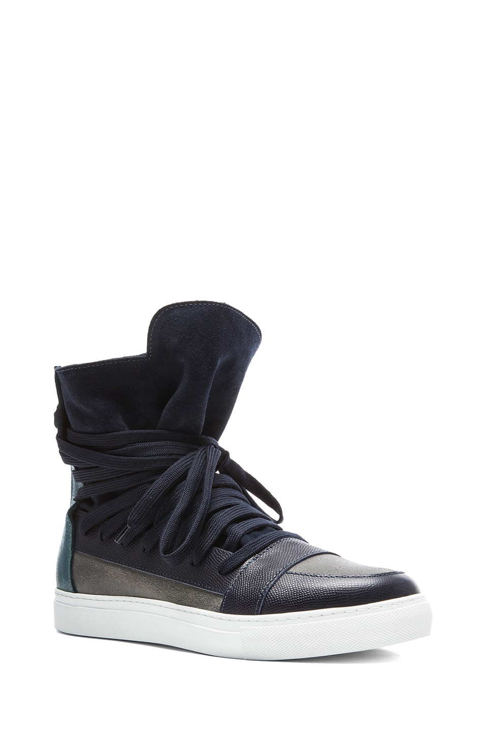 6afb688b4c Image 1 of Kris Van Assche Multi Lace Suede and Leather Sneakers in Blue  Multi