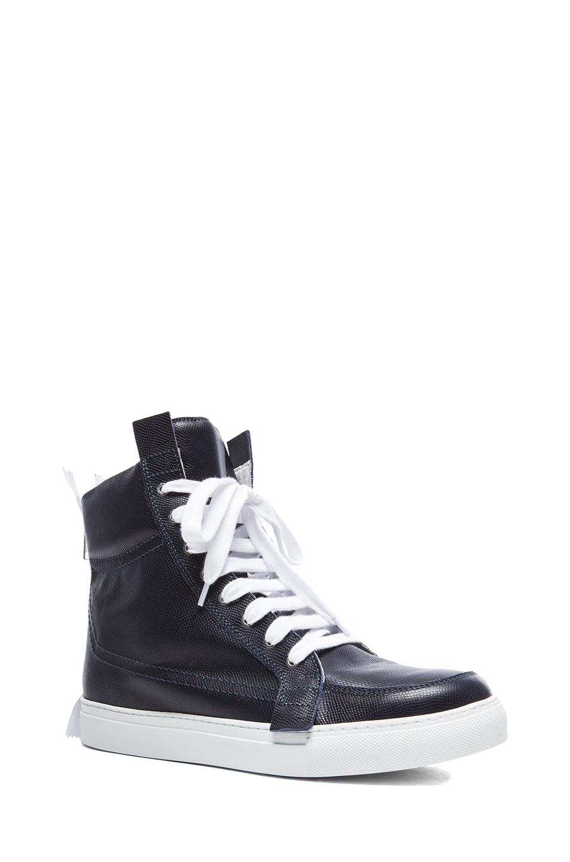 Image 1 of Kris Van Assche High Top Leather Sneakers in Navy 8475b747d