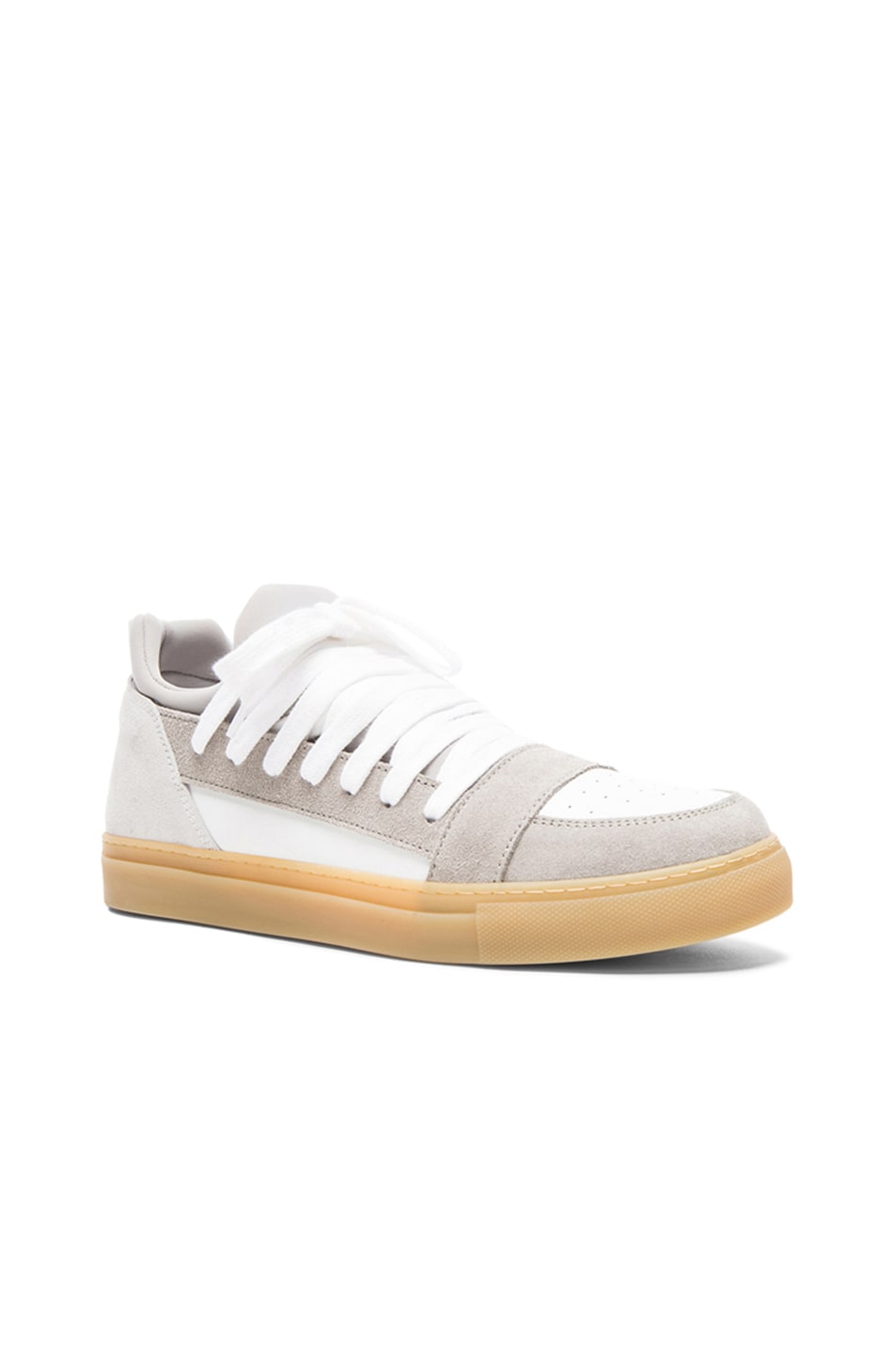 17c370284d Image 1 of Kris Van Assche Low Multi-Lace Leather Sneakers in White