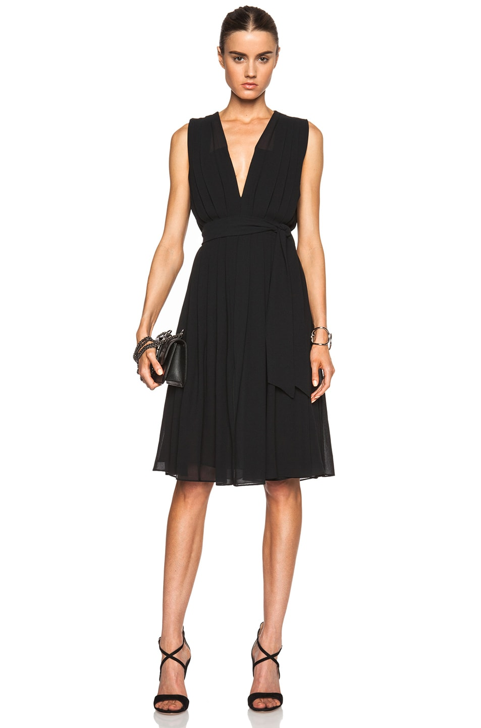 Image 1 of L'AGENCE Deep V Pleated Poly Dress in Black