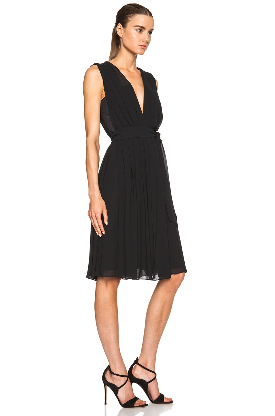 Image 3 of L'AGENCE Deep V Pleated Poly Dress in Black