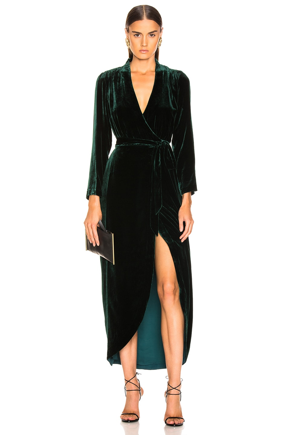 Image 1 of L'AGENCE Reliah Long Sleeve Wrap Dress in Forest Green