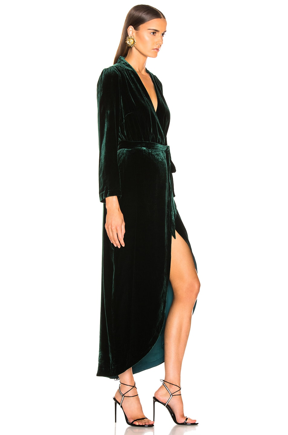 Image 2 of L'AGENCE Reliah Long Sleeve Wrap Dress in Forest Green